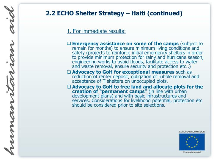 2.2 ECHO Shelter Strategy – Haiti (continued)