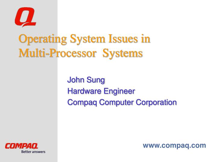 operating system issues in multi processor systems n.