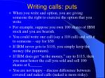 writing calls puts