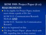 kom 5989 project paper 6 cr