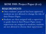 kom 5989 project paper 6 cr3