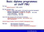 basic diploma programmes at uofp fbu