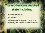 the moderately sedated state includes