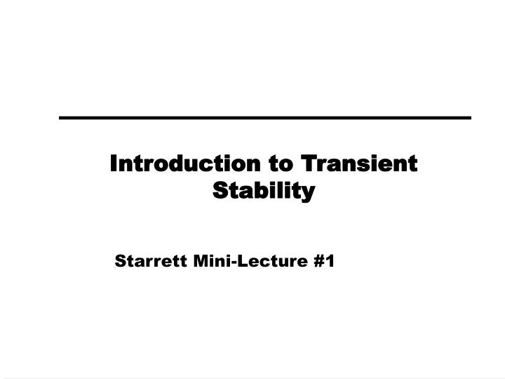 introduction to transient stability n.