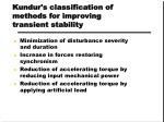 kundur s classification of methods for improving transient stability
