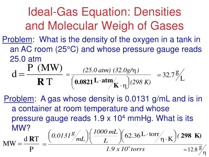 Ideal-Gas Equation: Densities and Molecular Weigh of Gases