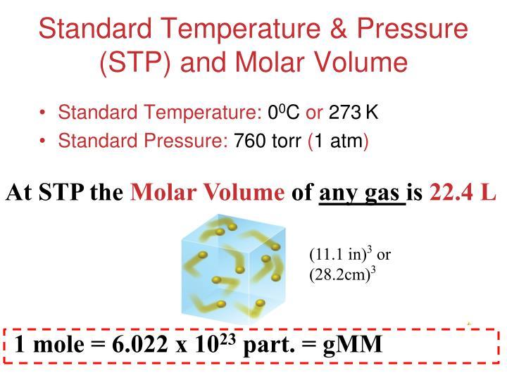 Standard Temperature & Pressure (STP) and Molar Volume