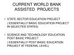 current world bank assisted projects
