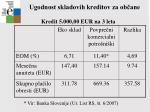 ugodnost skladovih kreditov za ob ane