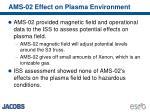 ams 02 effect on plasma environment