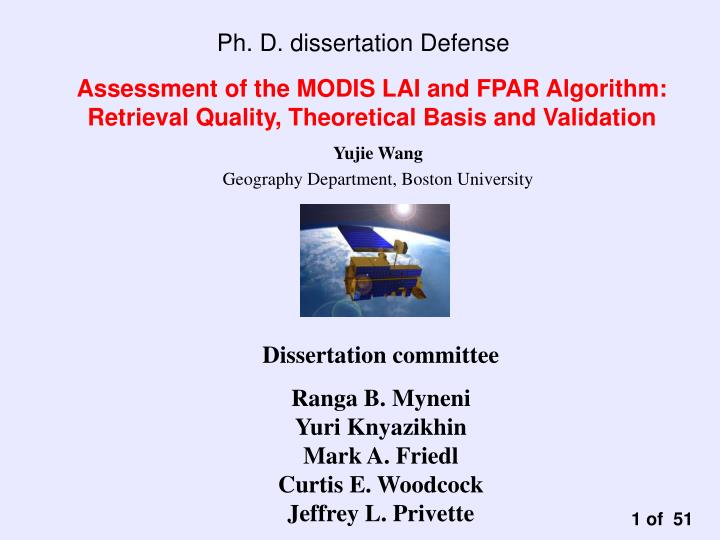 assessment of the modis lai and fpar algorithm retrieval quality theoretical basis and validation n.