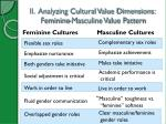 ii analyzing cultural value dimensions feminine masculine value pattern