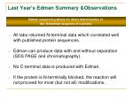 last year s edman summary observations