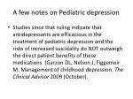 a few notes on pediatric depression1