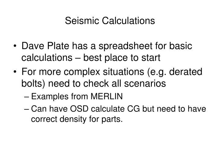 Seismic Calculations