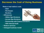 decrease the cost of doing business