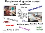 people working under stress and deadlines