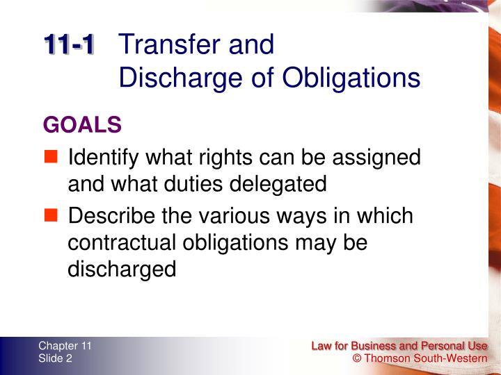 11 1 transfer and discharge of obligations
