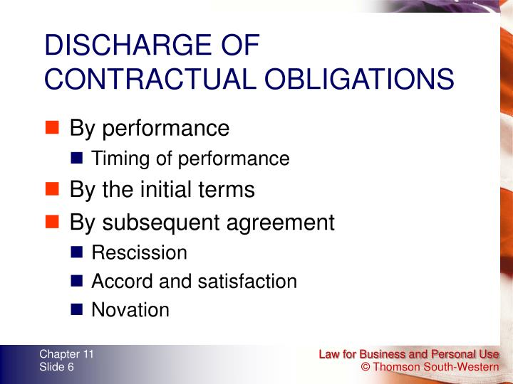 DISCHARGE OF CONTRACTUAL OBLIGATIONS