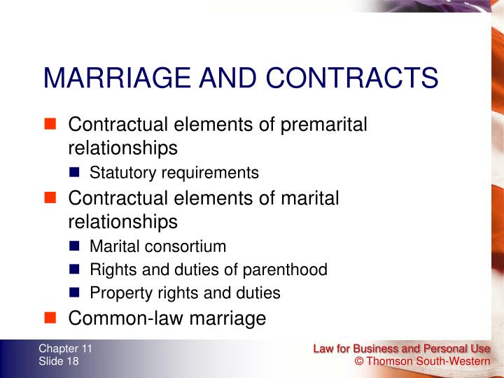 MARRIAGE AND CONTRACTS