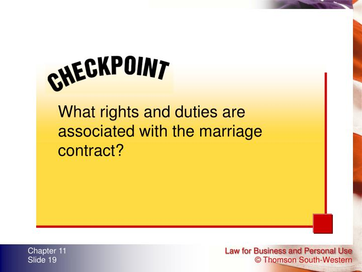 What rights and duties are associated with the marriage contract?