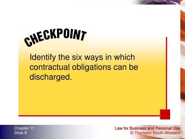 Identify the six ways in which contractual obligations can be discharged.