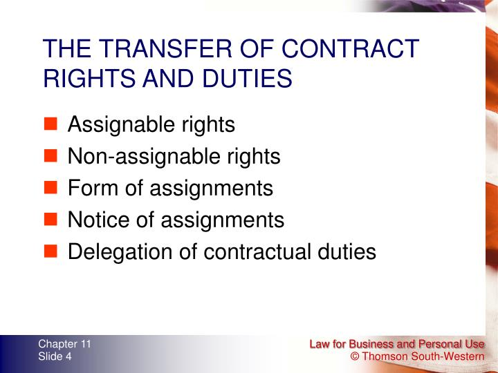 THE TRANSFER OF CONTRACT RIGHTS AND DUTIES