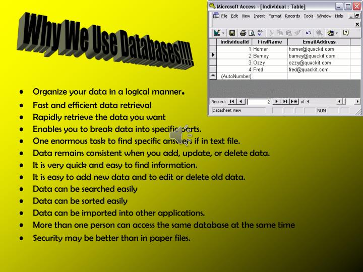 Why We Use Databases!!!!