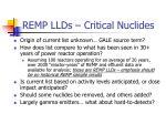 remp llds critical nuclides