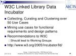w3c linked library data incubator