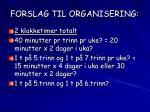 forslag til organisering