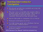 nutrition intervention for constipation