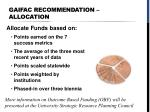 gaifac recommendation allocation