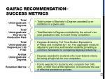 gaifac recommendation success metrics