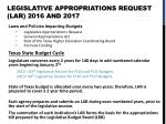 legislative appropriations request lar 2016 and 2017