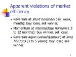 apparent violations of market efficiency
