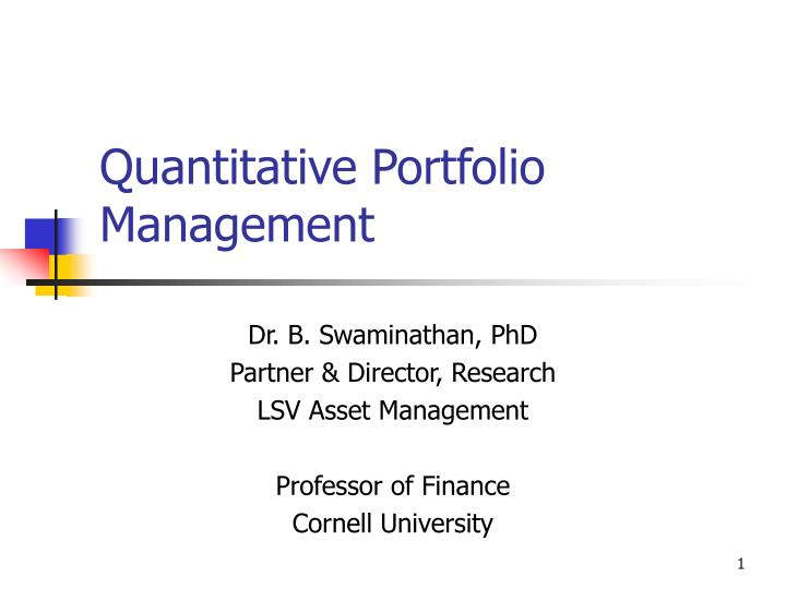 quantitative portfolio management n.
