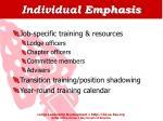individual emphasis