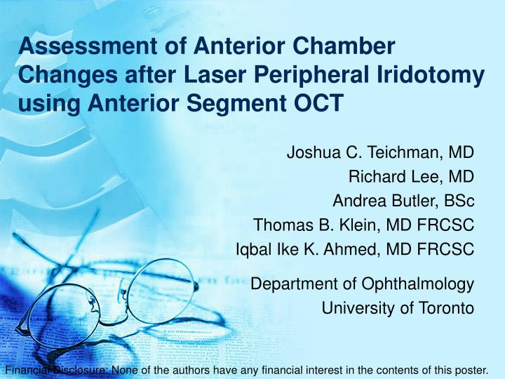 assessment of anterior chamber changes after laser peripheral iridotomy using anterior segment oct n.