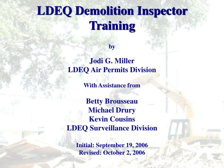 ldeq demolition inspector training n.