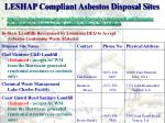 leshap compliant asbestos disposal sites