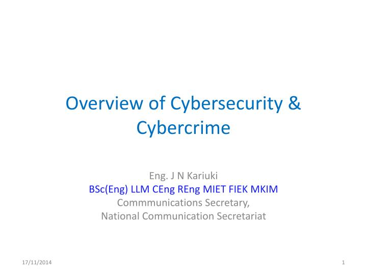 overview of cybersecurity cybercrime n.
