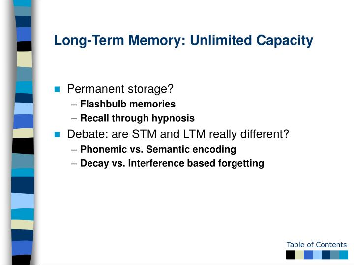 Long-Term Memory: Unlimited Capacity