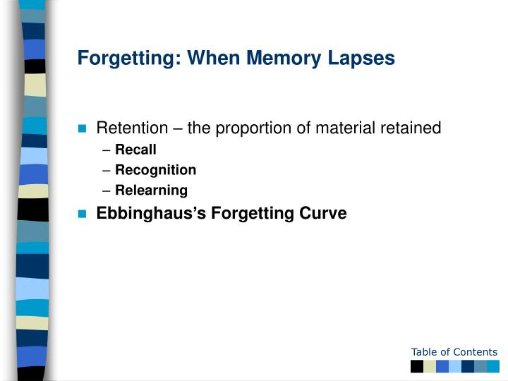 Forgetting: When Memory Lapses
