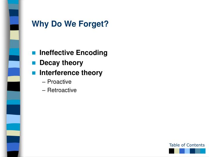 Why Do We Forget?