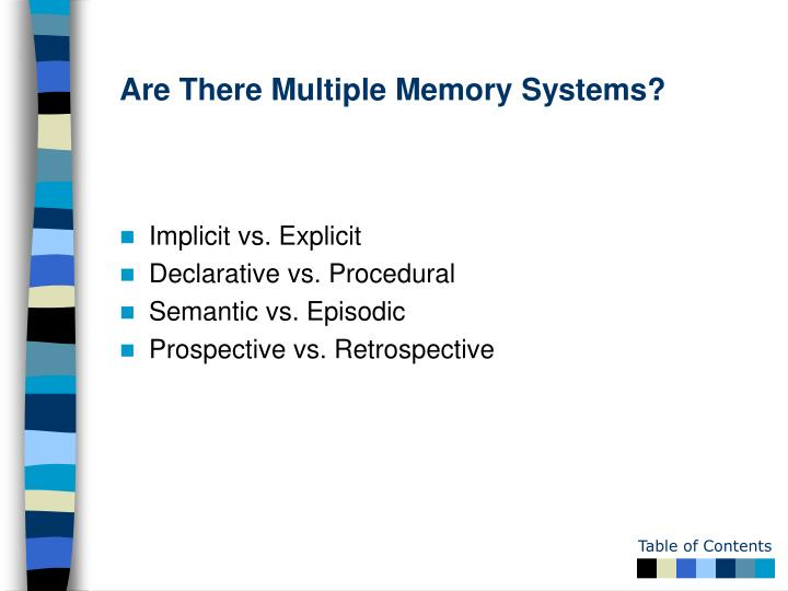 Are There Multiple Memory Systems?
