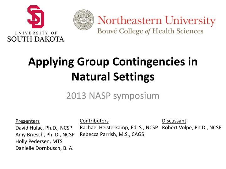 applying group contingencies in natural settings n.