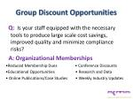 group discount opportunities