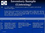 inventory sample listening