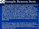 sample reason item